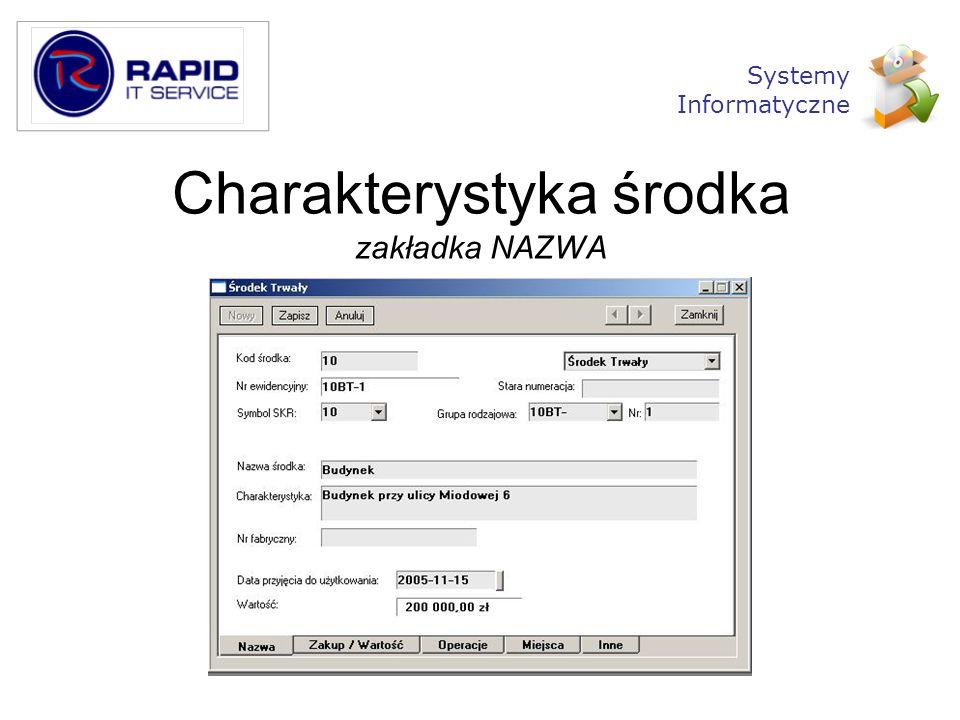 Charakterystyka środka zakładka NAZWA Systemy Informatyczne