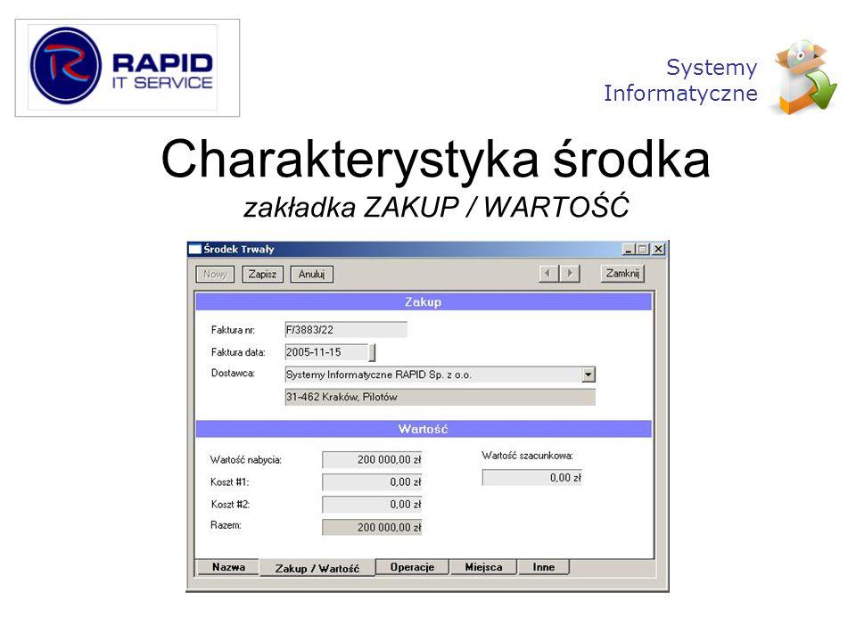 Charakterystyka środka zakładka ZAKUP / WARTOŚĆ Systemy Informatyczne