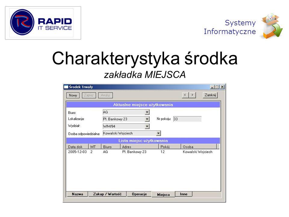 Charakterystyka środka zakładka MIEJSCA Systemy Informatyczne