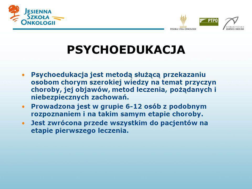 PSYCHOEDUKACJA Psychoedukacja jest metodą służącą przekazaniu osobom chorym szerokiej wiedzy na temat przyczyn choroby, jej objawów, metod leczenia, p