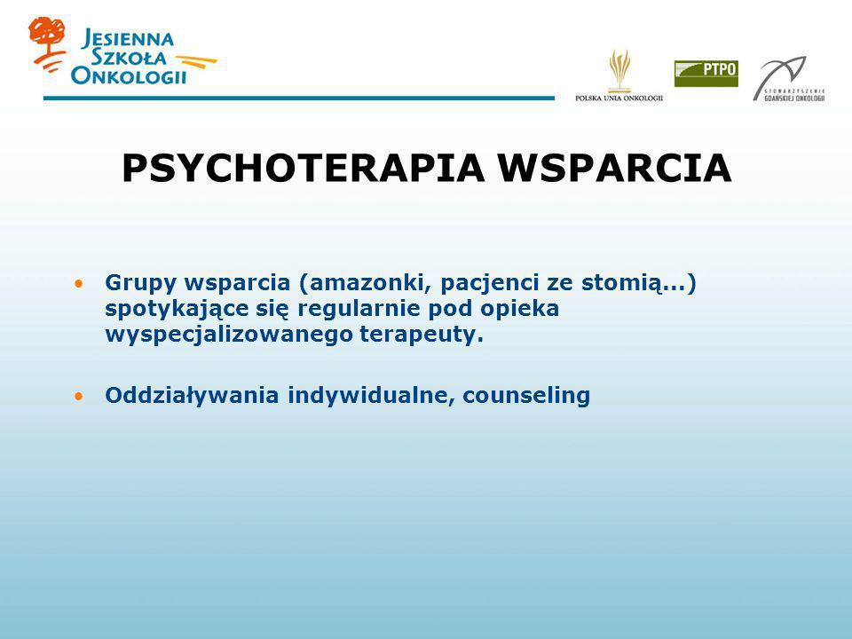 PSYCHOTERAPIA WSPARCIA Grupy wsparcia (amazonki, pacjenci ze stomią...) spotykające się regularnie pod opieka wyspecjalizowanego terapeuty. Oddziaływa