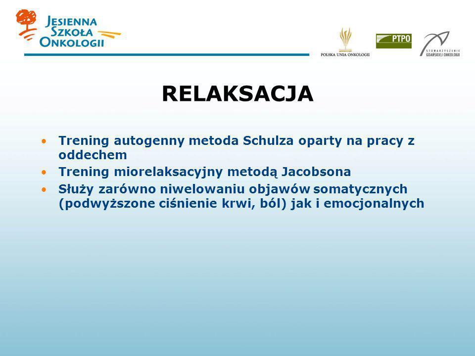 RELAKSACJA Trening autogenny metoda Schulza oparty na pracy z oddechem Trening miorelaksacyjny metodą Jacobsona Służy zarówno niwelowaniu objawów soma
