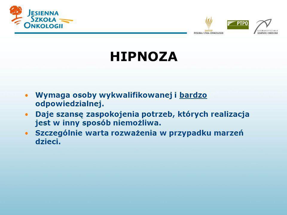 HIPNOZA Wymaga osoby wykwalifikowanej i bardzo odpowiedzialnej. Daje szansę zaspokojenia potrzeb, których realizacja jest w inny sposób niemożliwa. Sz