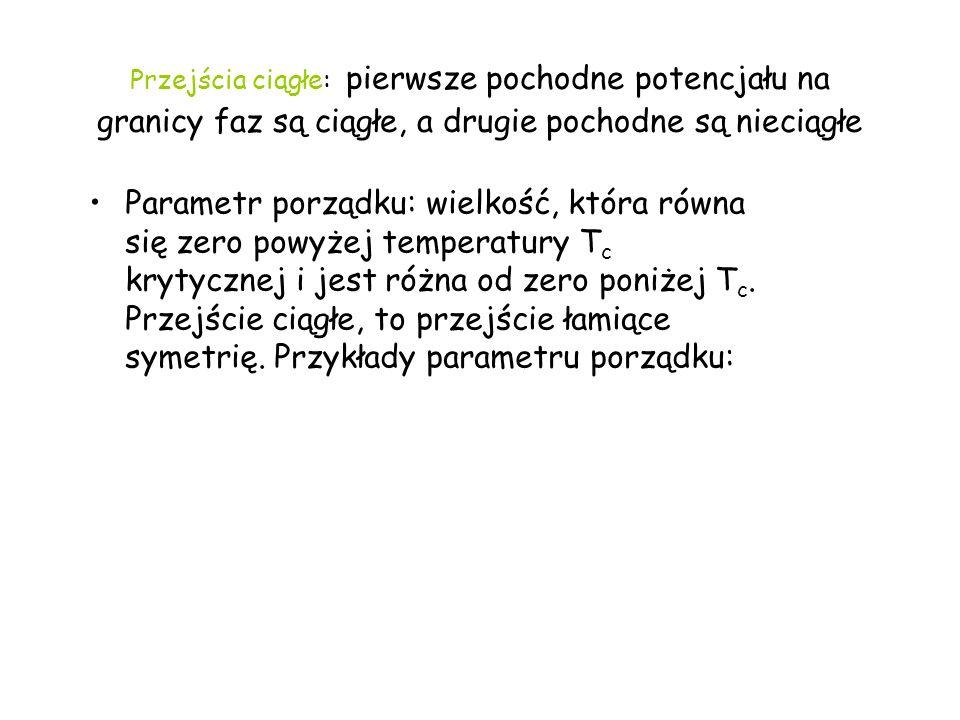 Przejścia ciągłe: pierwsze pochodne potencjału na granicy faz są ciągłe, a drugie pochodne są nieciągłe Parametr porządku: wielkość, która równa się z
