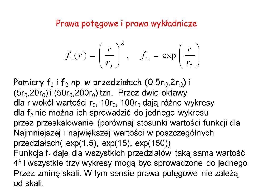 Prawa potęgowe i prawa wykładnicze Pomiary f 1 i f 2 np. w przedziałach (0.5r 0,2r 0 ) i (5r 0,20r 0 ) i (50r 0,200r 0 ) tzn. Przez dwie oktawy dla r