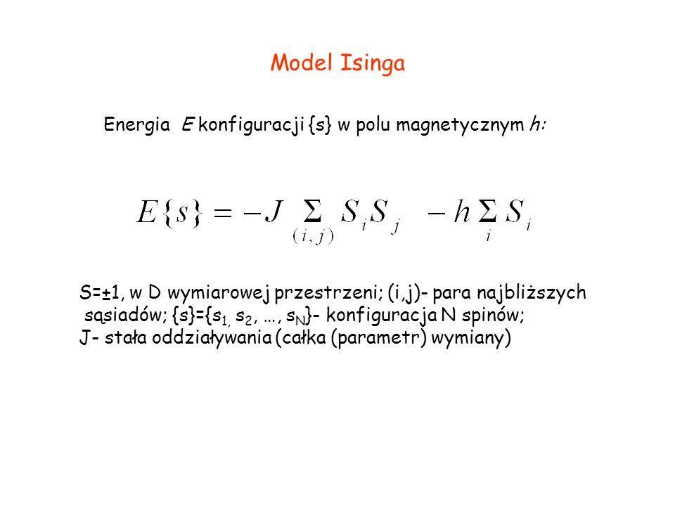 Model Isinga S=±1, w D wymiarowej przestrzeni; (i,j)- para najbliższych sąsiadów; {s}={s 1, s 2, …, s N }- konfiguracja N spinów; J- stała oddziaływania (całka (parametr) wymiany) Energia E konfiguracji {s} w polu magnetycznym h: