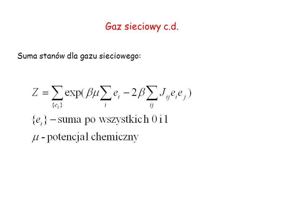 Gaz sieciowy c.d. Suma stanów dla gazu sieciowego: