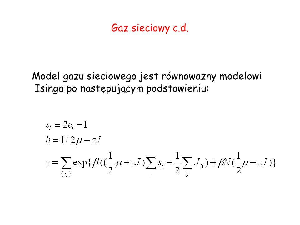 Gaz sieciowy c.d. Model gazu sieciowego jest równoważny modelowi Isinga po następującym podstawieniu: