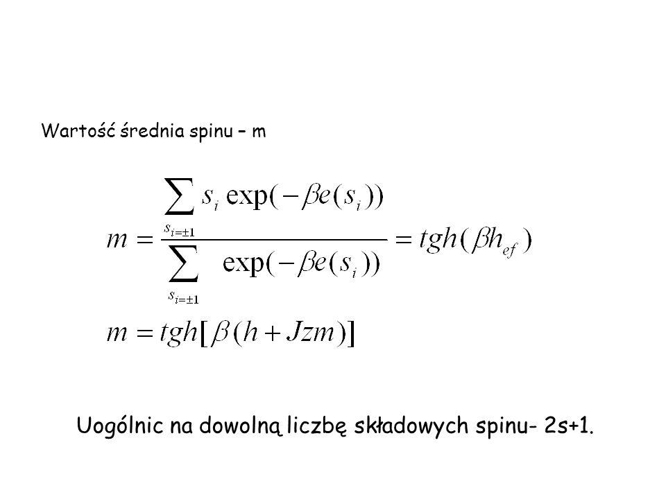 Wartość średnia spinu – m Uogólnic na dowolną liczbę składowych spinu- 2s+1.