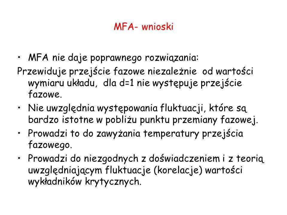 MFA- wnioski MFA nie daje poprawnego rozwiązania: Przewiduje przejście fazowe niezależnie od wartości wymiaru układu, dla d=1 nie występuje przejście fazowe.