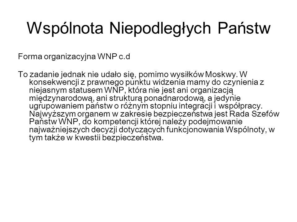 Wspólnota Niepodległych Państw Forma organizacyjna WNP c.d To zadanie jednak nie udało się, pomimo wysiłków Moskwy. W konsekwencji z prawnego punktu w