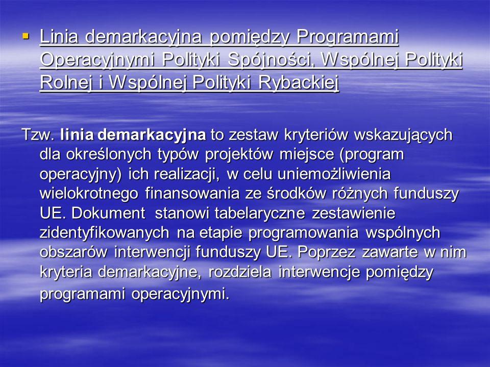 Linia demarkacyjna pomiędzy Programami Operacyjnymi Polityki Spójności, Wspólnej Polityki Rolnej i Wspólnej Polityki Rybackiej Linia demarkacyjna pomiędzy Programami Operacyjnymi Polityki Spójności, Wspólnej Polityki Rolnej i Wspólnej Polityki Rybackiej Tzw.