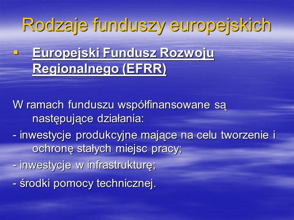 Rodzaje funduszy europejskich Europejski Fundusz Rozwoju Regionalnego (EFRR) Europejski Fundusz Rozwoju Regionalnego (EFRR) W ramach funduszu współfinansowane są następujące działania: - inwestycje produkcyjne mające na celu tworzenie i ochronę stałych miejsc pracy; - inwestycje w infrastrukturę; - środki pomocy technicznej.