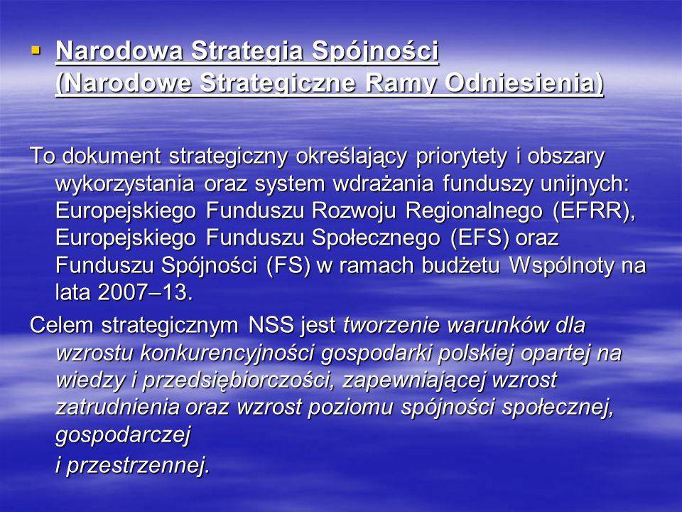 Narodowa Strategia Spójności (Narodowe Strategiczne Ramy Odniesienia) Narodowa Strategia Spójności (Narodowe Strategiczne Ramy Odniesienia) To dokument strategiczny określający priorytety i obszary wykorzystania oraz system wdrażania funduszy unijnych: Europejskiego Funduszu Rozwoju Regionalnego (EFRR), Europejskiego Funduszu Społecznego (EFS) oraz Funduszu Spójności (FS) w ramach budżetu Wspólnoty na lata 2007–13.