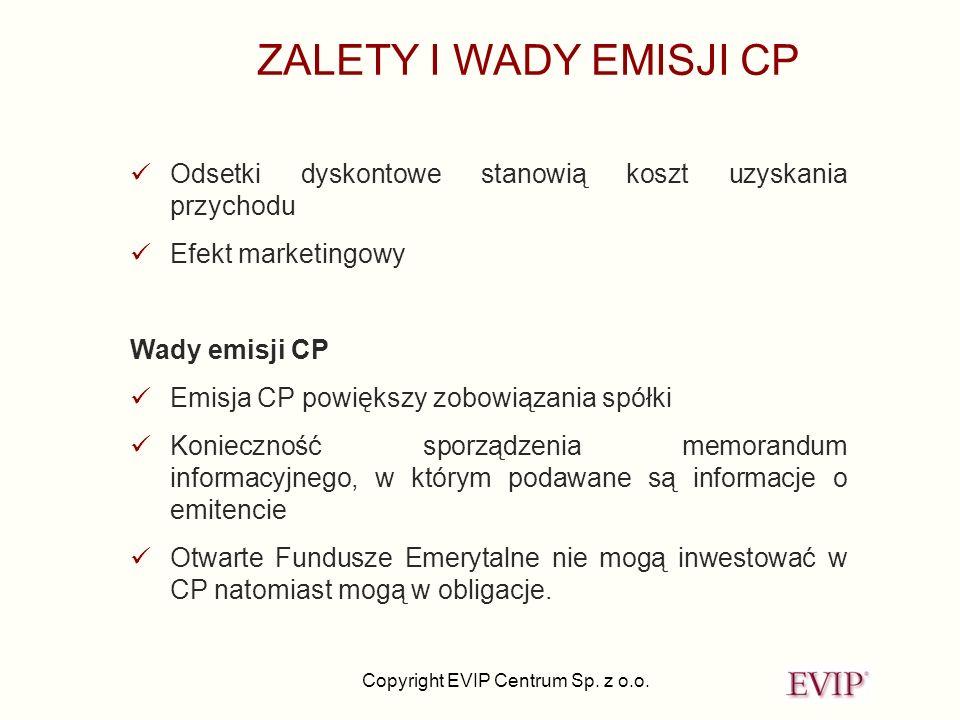 Copyright EVIP Centrum Sp. z o.o. Odsetki dyskontowe stanowią koszt uzyskania przychodu Efekt marketingowy Wady emisji CP Emisja CP powiększy zobowiąz