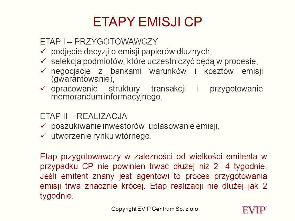 Copyright EVIP Centrum Sp. z o.o. ETAP I – PRZYGOTOWAWCZY podjęcie decyzji o emisji papierów dłużnych, selekcja podmiotów, które uczestniczyć będą w p