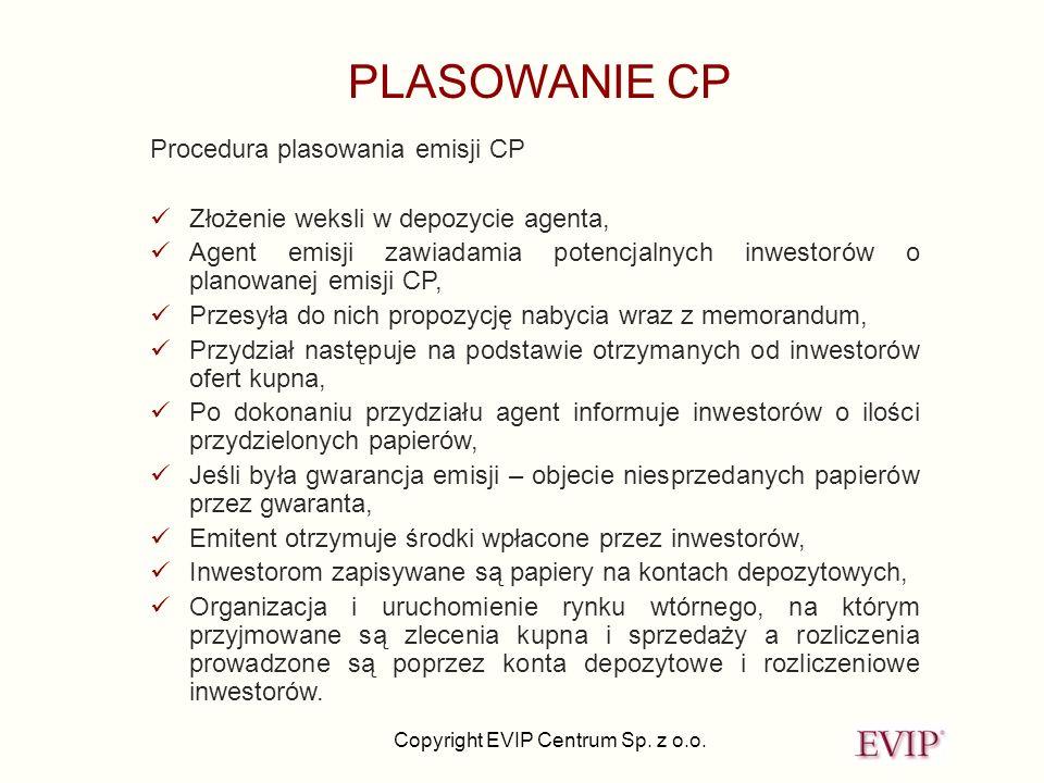 Copyright EVIP Centrum Sp. z o.o. PLASOWANIE CP Procedura plasowania emisji CP Złożenie weksli w depozycie agenta, Agent emisji zawiadamia potencjalny