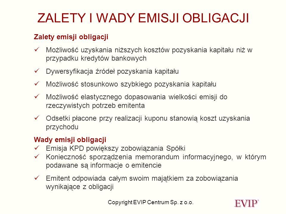Copyright EVIP Centrum Sp. z o.o. ZALETY I WADY EMISJI OBLIGACJI Zalety emisji obligacji Możliwość uzyskania niższych kosztów pozyskania kapitału niż
