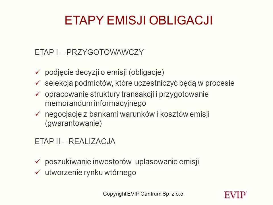Copyright EVIP Centrum Sp. z o.o. ETAPY EMISJI OBLIGACJI ETAP I – PRZYGOTOWAWCZY podjęcie decyzji o emisji (obligacje) selekcja podmiotów, które uczes
