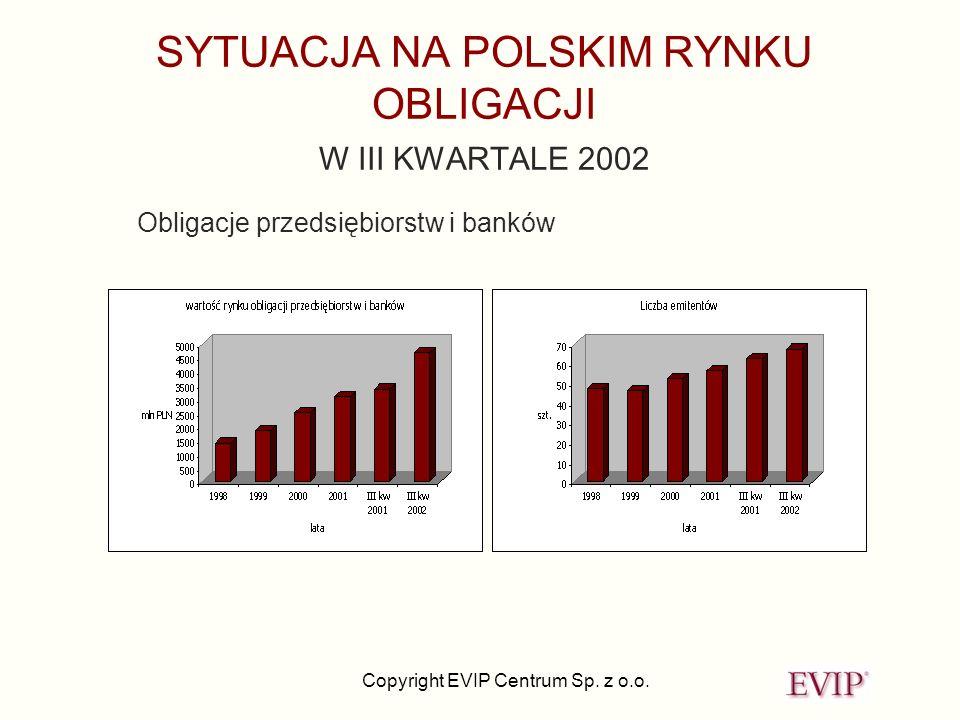 Copyright EVIP Centrum Sp. z o.o. SYTUACJA NA POLSKIM RYNKU OBLIGACJI W III KWARTALE 2002 Obligacje przedsiębiorstw i banków