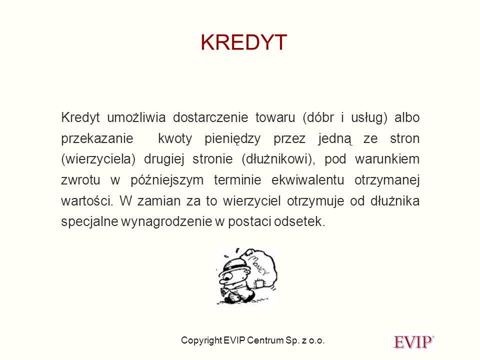 Copyright EVIP Centrum Sp. z o.o. KREDYT Kredyt umożliwia dostarczenie towaru (dóbr i usług) albo przekazanie kwoty pieniędzy przez jedną ze stron (wi