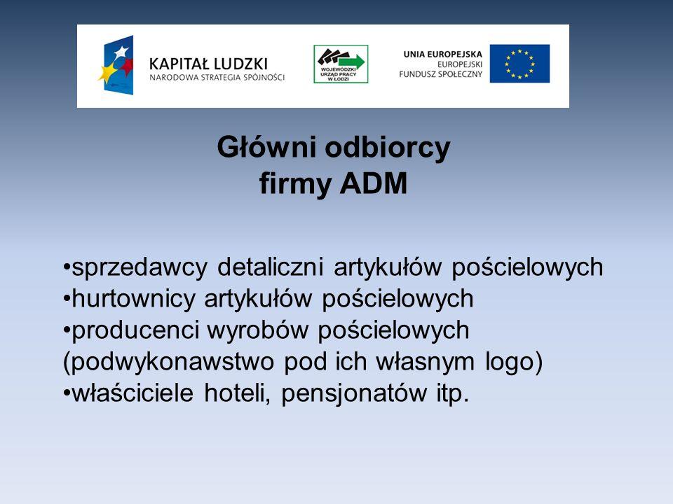 Główni odbiorcy firmy ADM sprzedawcy detaliczni artykułów pościelowych hurtownicy artykułów pościelowych producenci wyrobów pościelowych (podwykonawst