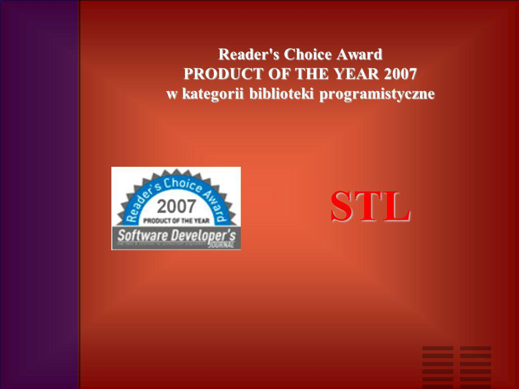 Reader s Choice Award PRODUCT OF THE YEAR 2007 w kategorii biblioteki programistyczne STL