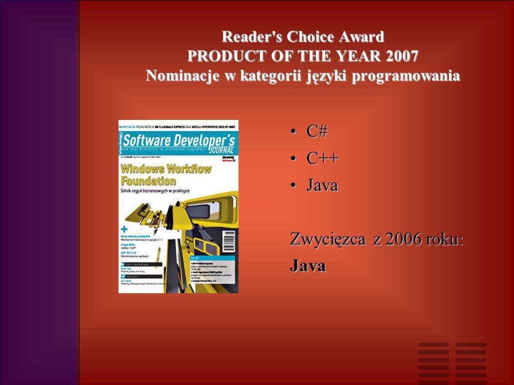 Reader s Choice Award PRODUCT OF THE YEAR 2007 Nominacje w kategorii języki programowania C#C# C++C++ JavaJava Zwycięzca z 2006 roku: Java