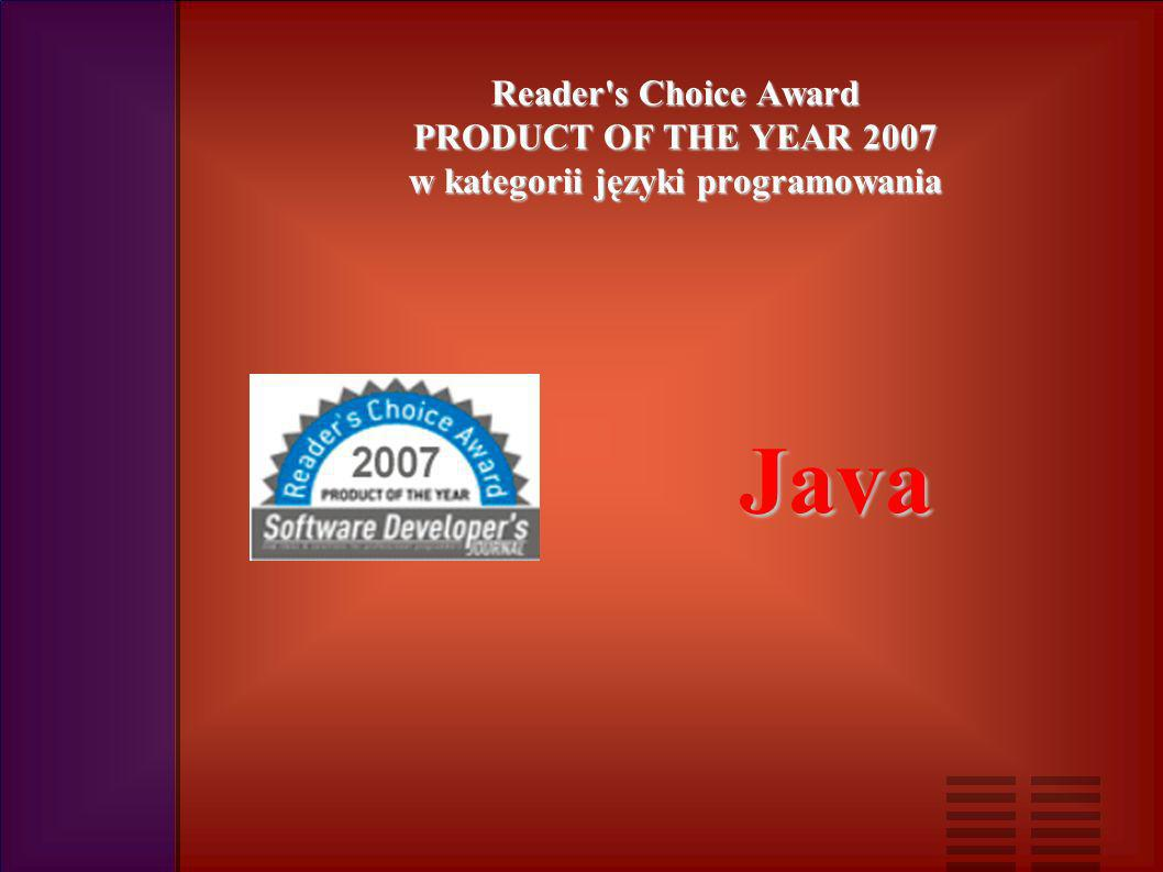 Reader s Choice Award PRODUCT OF THE YEAR 2007 w kategorii języki programowania Java