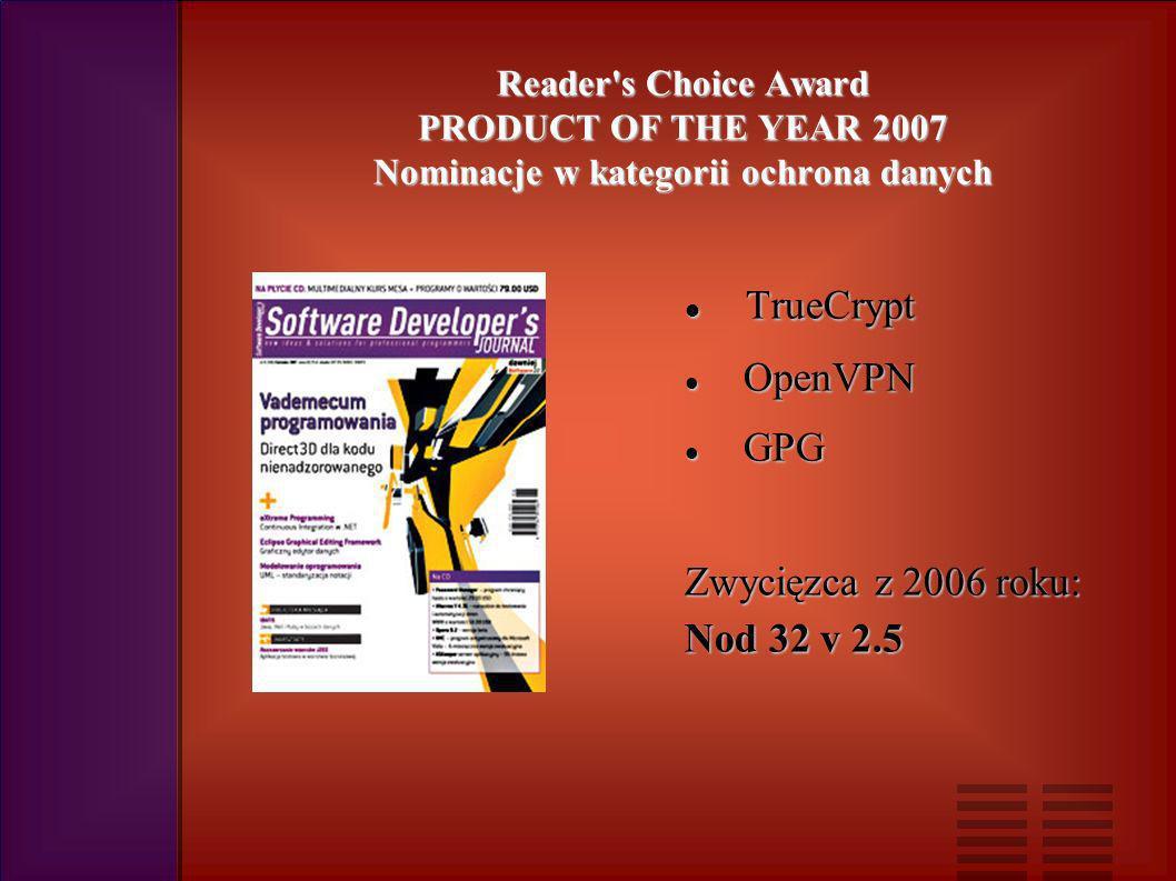 Reader s Choice Award PRODUCT OF THE YEAR 2007 Nominacje w kategorii ochrona danych TrueCrypt TrueCrypt OpenVPN OpenVPN GPG GPG Zwycięzca z 2006 roku: Nod 32 v 2.5