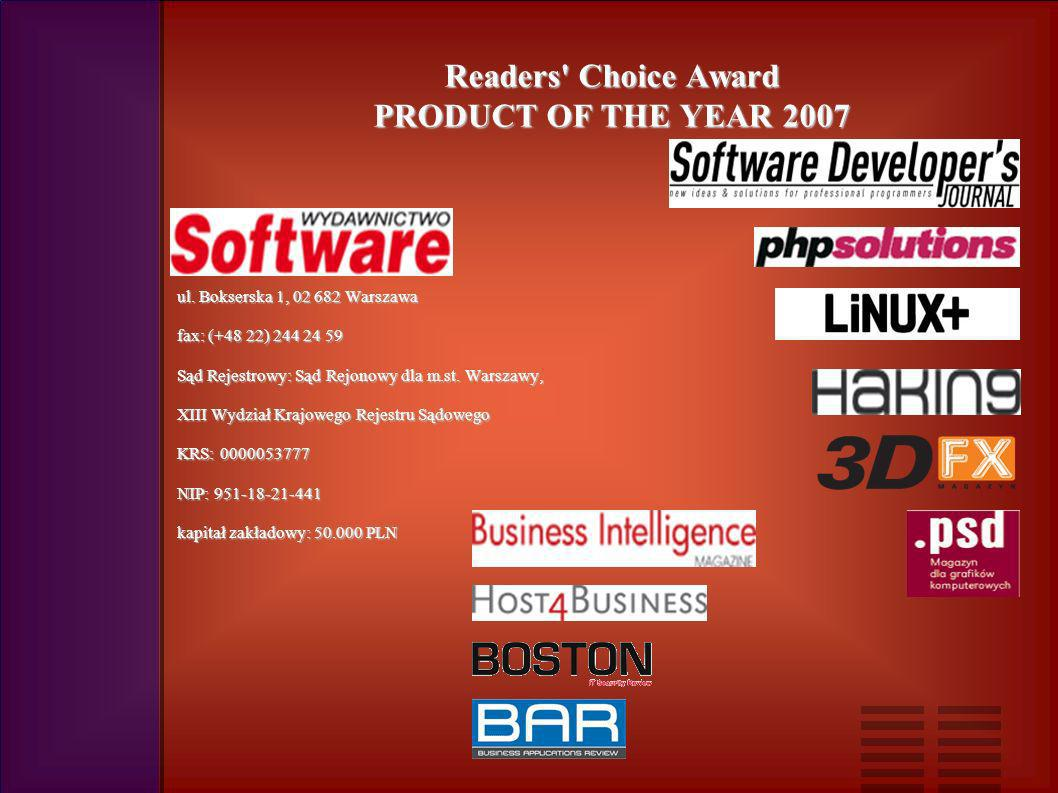 Readers Choice Award PRODUCT OF THE YEAR 2007