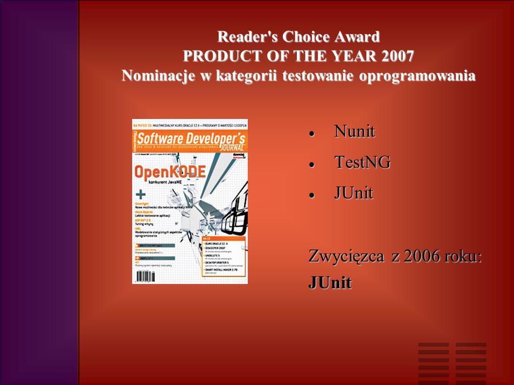 Reader s Choice Award PRODUCT OF THE YEAR 2007 Nominacje w kategorii testowanie oprogramowania Nunit Nunit TestNG TestNG JUnit JUnit Zwycięzca z 2006 roku: JUnit