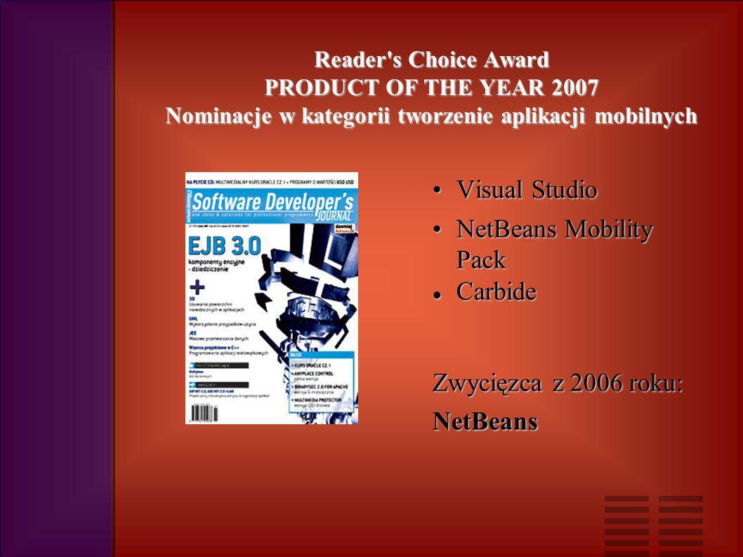 Reader s Choice Award PRODUCT OF THE YEAR 2007 Nominacje w kategorii tworzenie aplikacji mobilnych Visual StudioVisual Studio NetBeans Mobility PackNetBeans Mobility Pack Carbide Carbide Zwycięzca z 2006 roku: NetBeans