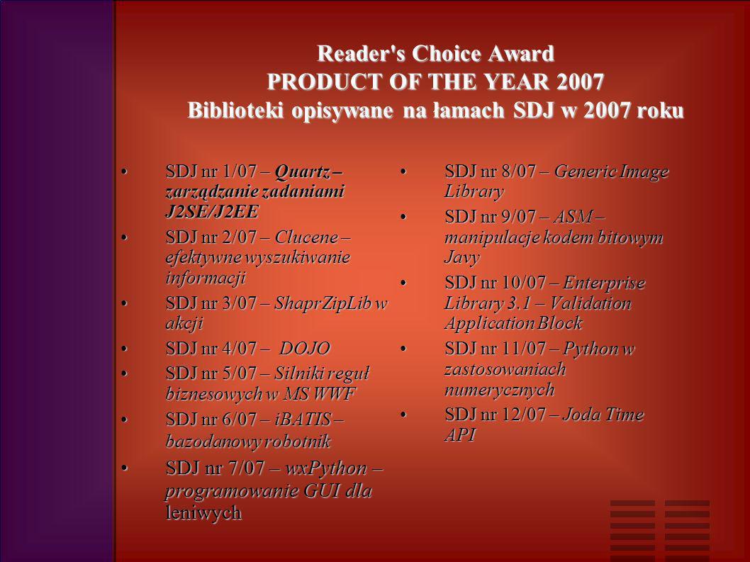 Reader s Choice Award PRODUCT OF THE YEAR 2007 Biblioteki opisywane na łamach SDJ w 2007 roku SDJ nr 1/07 – Quartz – zarządzanie zadaniami J2SE/J2EESDJ nr 1/07 – Quartz – zarządzanie zadaniami J2SE/J2EE SDJ nr 2/07 – Clucene – efektywne wyszukiwanie informacjiSDJ nr 2/07 – Clucene – efektywne wyszukiwanie informacji SDJ nr 3/07 – ShaprZipLib w akcjiSDJ nr 3/07 – ShaprZipLib w akcji SDJ nr 4/07 – DOJOSDJ nr 4/07 – DOJO SDJ nr 5/07 – Silniki reguł biznesowych w MS WWFSDJ nr 5/07 – Silniki reguł biznesowych w MS WWF SDJ nr 6/07 – iBATIS – bazodanowy robotnikSDJ nr 6/07 – iBATIS – bazodanowy robotnik SDJ nr 7/07 – wxPython – programowanie GUI dla leniwychSDJ nr 7/07 – wxPython – programowanie GUI dla leniwych SDJ nr 8/07 – Generic Image LibrarySDJ nr 8/07 – Generic Image Library SDJ nr 9/07 – ASM – manipulacje kodem bitowym JavySDJ nr 9/07 – ASM – manipulacje kodem bitowym Javy SDJ nr 10/07 – Enterprise Library 3.1 – Validation Application BlockSDJ nr 10/07 – Enterprise Library 3.1 – Validation Application Block SDJ nr 11/07 – Python w zastosowaniach numerycznychSDJ nr 11/07 – Python w zastosowaniach numerycznych SDJ nr 12/07 – Joda Time APISDJ nr 12/07 – Joda Time API