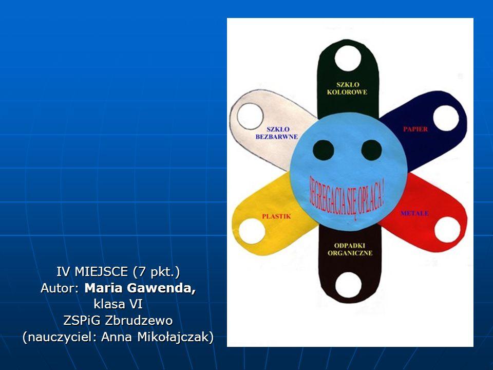 IV MIEJSCE (7 pkt.) Autor: Maria Gawenda, klasa VI ZSPiG Zbrudzewo (nauczyciel: Anna Mikołajczak)