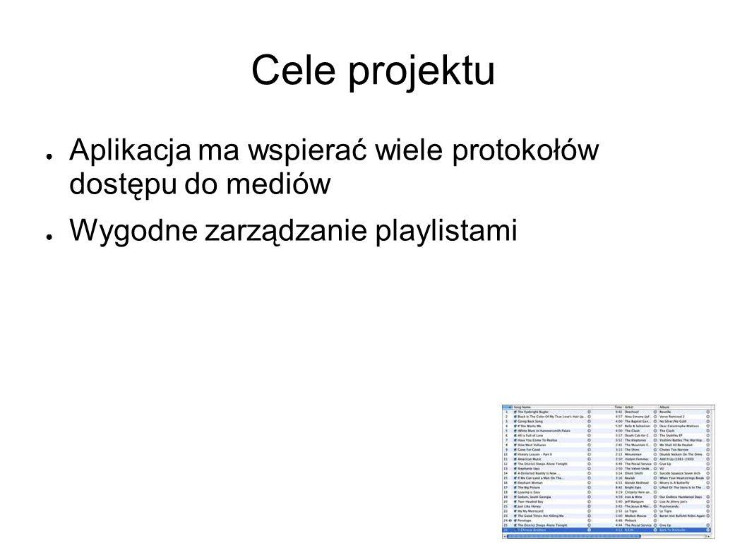 Cele projektu Aplikacja ma wspierać wiele protokołów dostępu do mediów Wygodne zarządzanie playlistami
