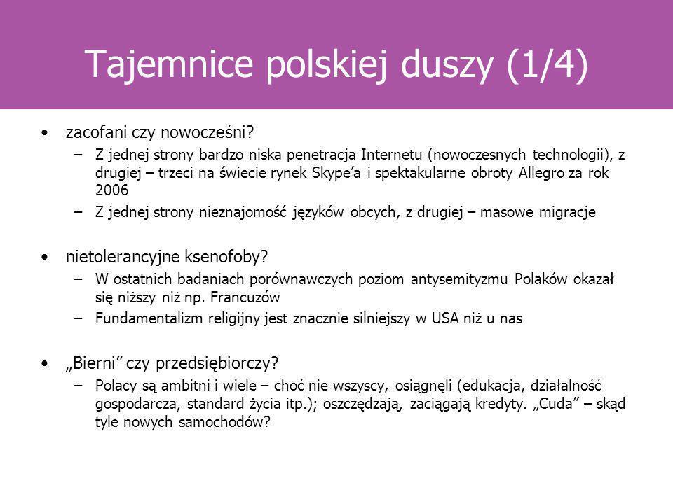 Tajemnice polskiej duszy (1/4) zacofani czy nowocześni? –Z jednej strony bardzo niska penetracja Internetu (nowoczesnych technologii), z drugiej – trz