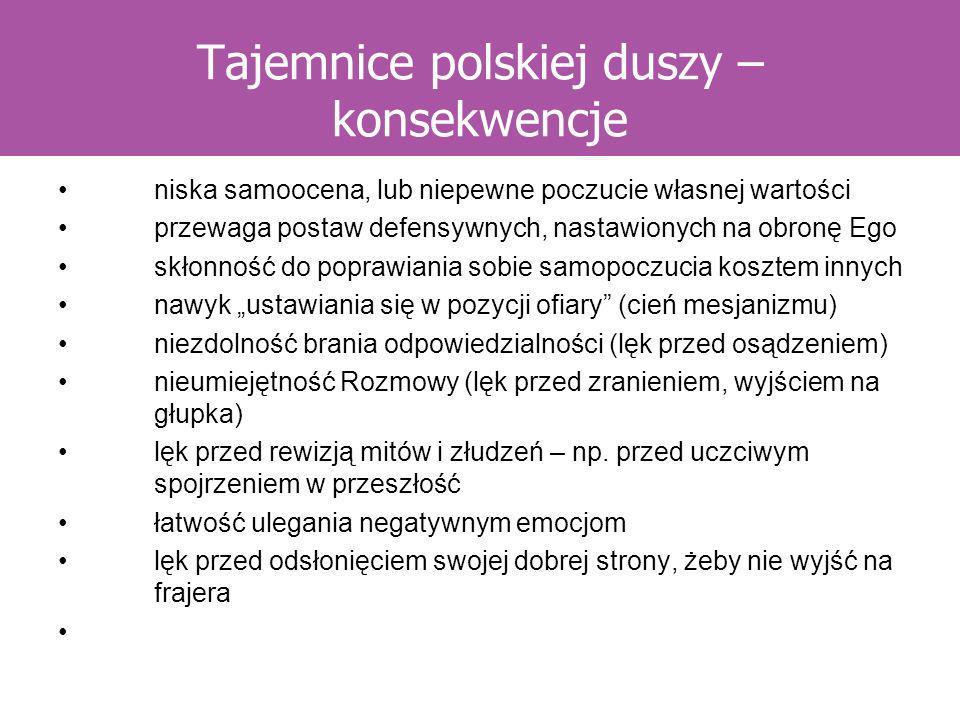 Tajemnice polskiej duszy – konsekwencje niska samoocena, lub niepewne poczucie własnej wartości przewaga postaw defensywnych, nastawionych na obronę E