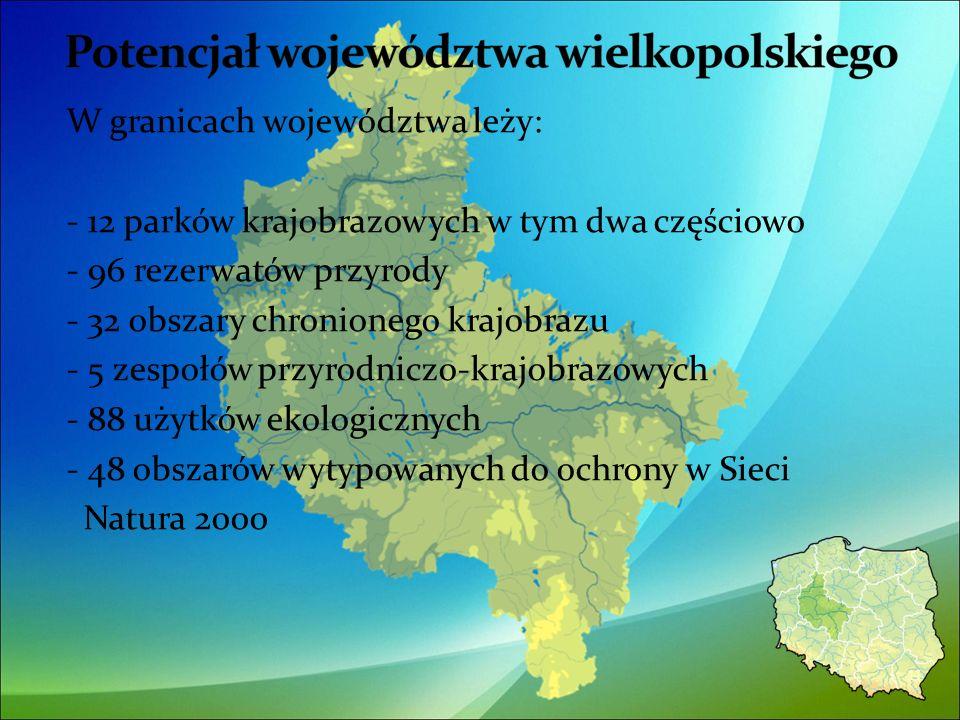 W granicach województwa leży: - 12 parków krajobrazowych w tym dwa częściowo - 96 rezerwatów przyrody - 32 obszary chronionego krajobrazu - 5 zespołów przyrodniczo-krajobrazowych - 88 użytków ekologicznych - 48 obszarów wytypowanych do ochrony w Sieci Natura 2000 11