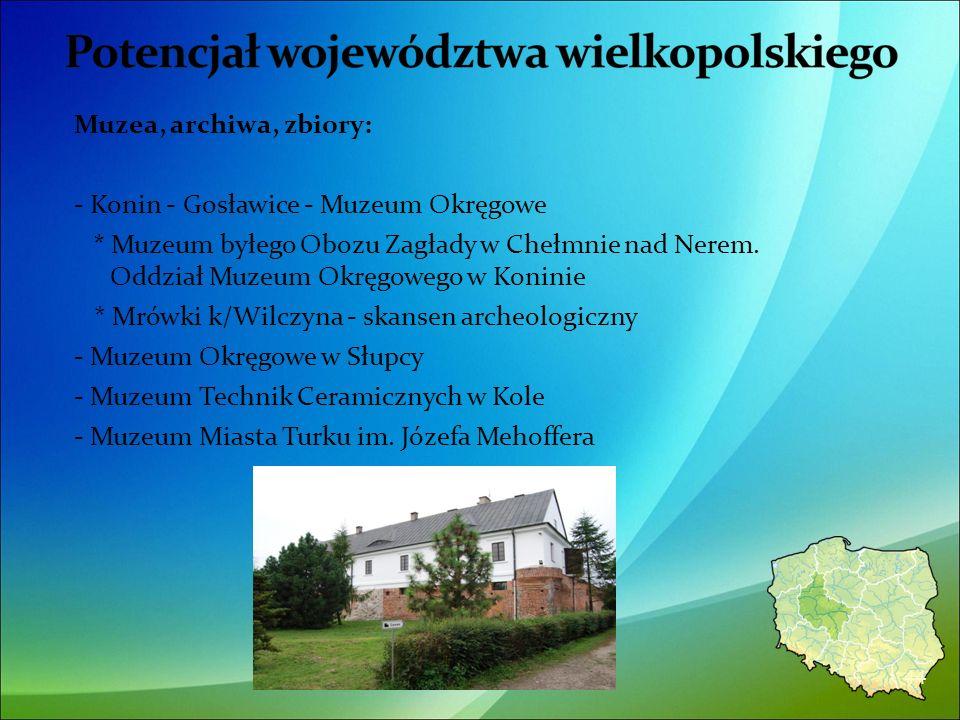 Muzea, archiwa, zbiory: - Konin - Gosławice - Muzeum Okręgowe * Muzeum byłego Obozu Zagłady w Chełmnie nad Nerem.