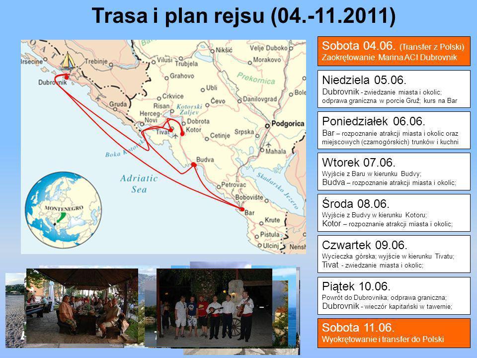 Niedziela 05.06. Dubrovnik - zwiedzanie miasta i okolic; odprawa graniczna w porcie Gruž; kurs na Bar Poniedziałek 06.06. Bar – rozpoznanie atrakcji m