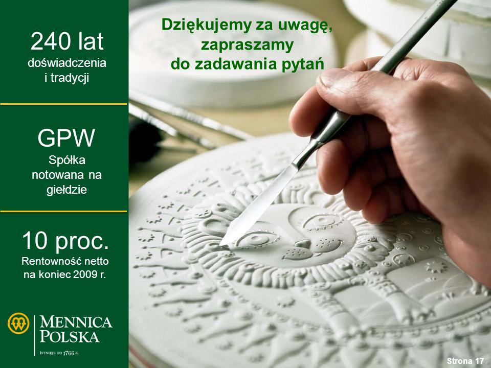 240 lat doświadczenia i tradycji GPW Spółka notowana na giełdzie 10 proc.