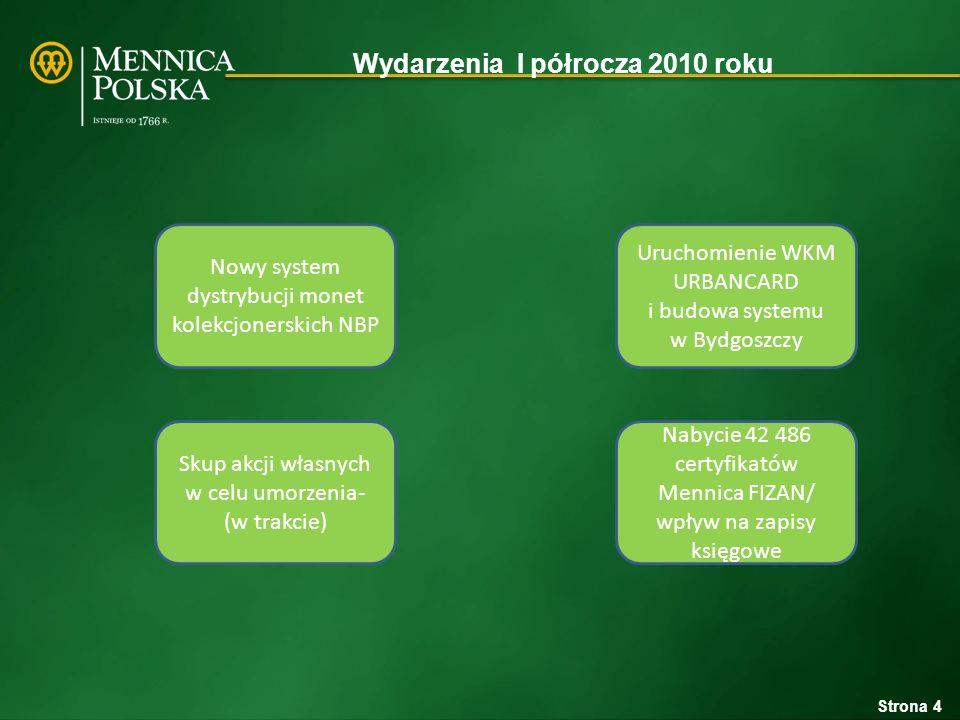 Wydarzenia I półrocza 2010 roku Skup akcji własnych w celu umorzenia- (w trakcie) Nabycie 42 486 certyfikatów Mennica FIZAN/ wpływ na zapisy księgowe Nowy system dystrybucji monet kolekcjonerskich NBP Uruchomienie WKM URBANCARD i budowa systemu w Bydgoszczy Strona 4