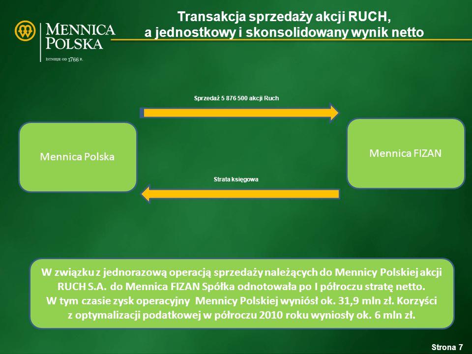 Transakcja sprzedaży akcji RUCH, a jednostkowy i skonsolidowany wynik netto Mennica Polska Grupa Kapitałowa Mennicy Polskiej Audytor Mennicy Polskiej zalecił Spółce skonsolidowanie certyfikatów FIZAN metodą pełną.