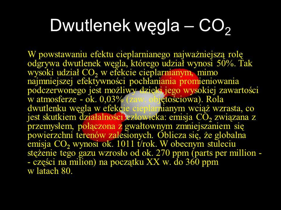 Dwutlenek węgla – CO 2 W powstawaniu efektu cieplarnianego najważniejszą rolę odgrywa dwutlenek węgla, którego udział wynosi 50%. Tak wysoki udział CO