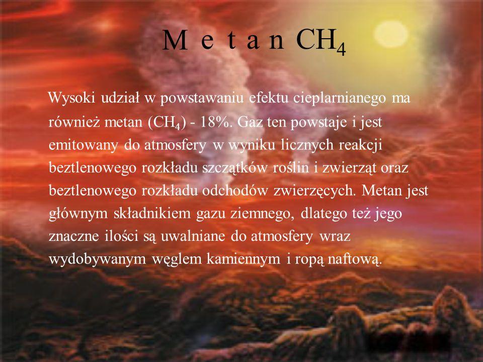 M Wysoki udział w powstawaniu efektu cieplarnianego ma etanCH 4 również metan (CH 4 ) - 18%. Gaz ten powstaje i jest emitowany do atmosfery w wyniku l