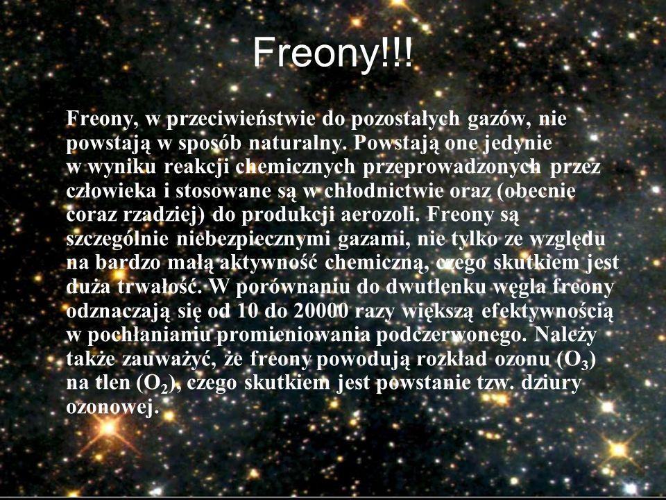 Freony!!! Freony, w przeciwieństwie do pozostałych gazów, nie powstają w sposób naturalny. Powstają one jedynie w wyniku reakcji chemicznych przeprowa