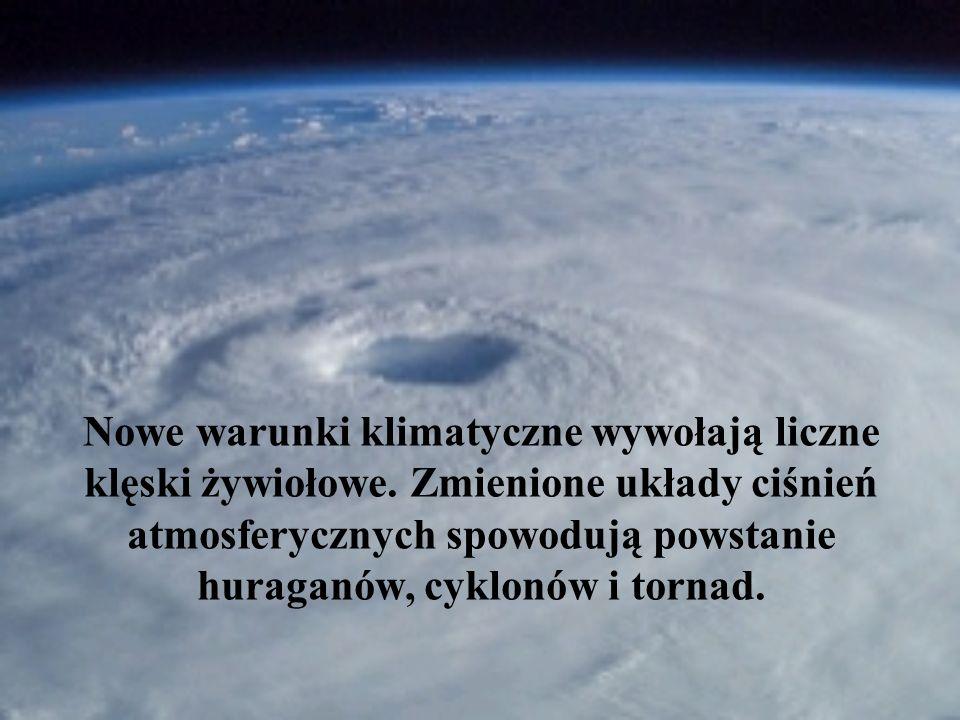 Nowe warunki klimatyczne wywołają liczne klęski żywiołowe. Zmienione układy ciśnień atmosferycznych spowodują powstanie huraganów, cyklonów i tornad.