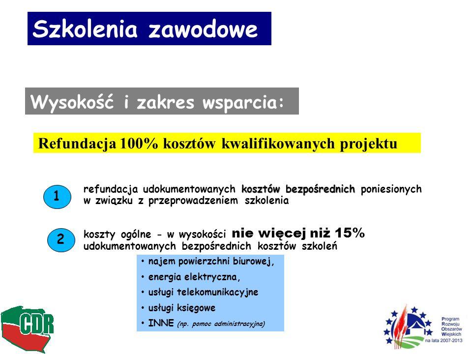 10 Szkolenia zawodowe Wysokość i zakres wsparcia: Refundacja 100% kosztów kwalifikowanych projektu kosztów bezpośrednich refundacja udokumentowanych kosztów bezpośrednich poniesionych w związku z przeprowadzeniem szkolenia 1 koszty ogólne - w wysokości nie więcej niż 15% udokumentowanych bezpośrednich kosztów szkoleń 2 najem powierzchni biurowej, energia elektryczna, usługi telekomunikacyjne usługi księgowe INNE (np.