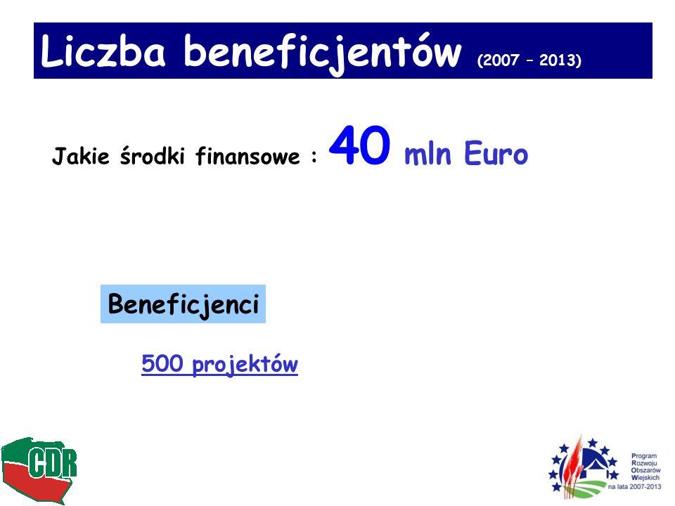 13 Beneficjenci 500 projektów Liczba beneficjentów (2007 – 2013) Jakie środki finansowe : 40 mln Euro